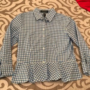 Ralph Lauren blue and white gingham top size 2P
